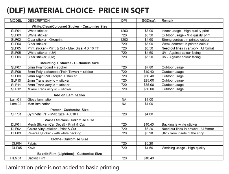 DLF Material Choice-Price List
